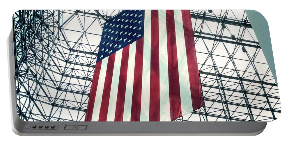 Flag Portable Battery Charger featuring the photograph American Flag In Kennedy Library Atrium - 1982 by Thomas Marchessault