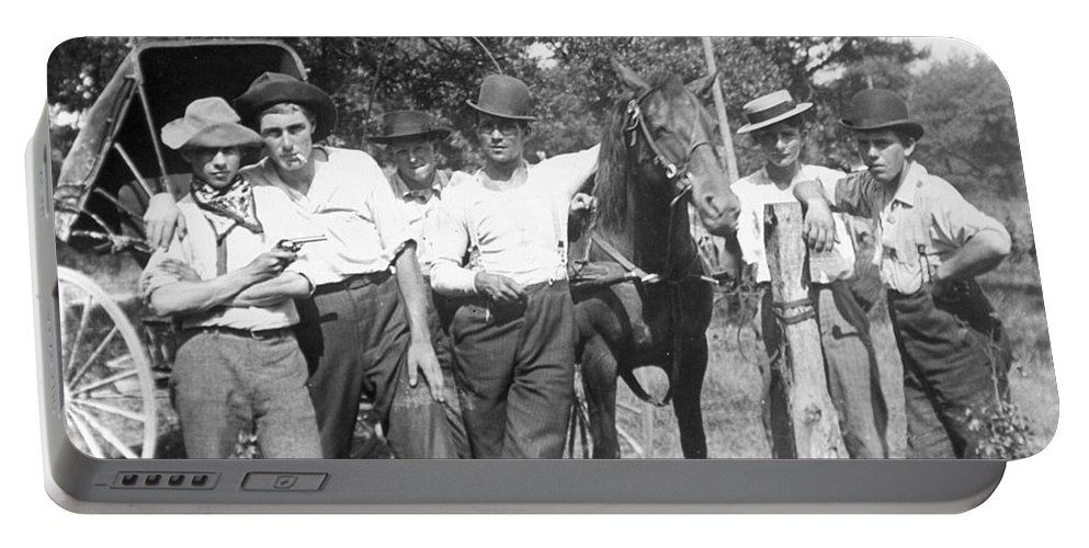 1900 Portable Battery Charger featuring the photograph American Gang, C1900 by Granger