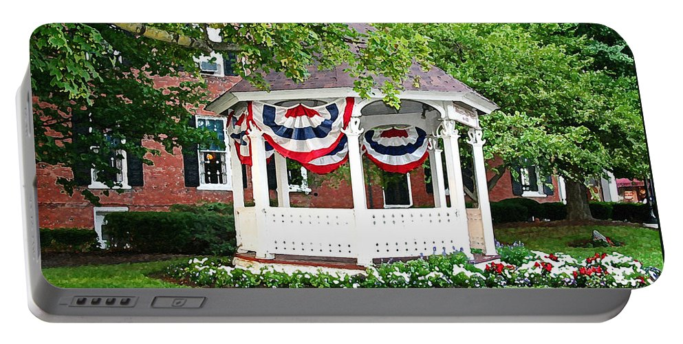 Gazebo Portable Battery Charger featuring the photograph American Gazebo by Margie Wildblood
