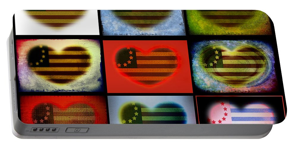 Flag Portable Battery Charger featuring the photograph American Hearts by Bill Cannon