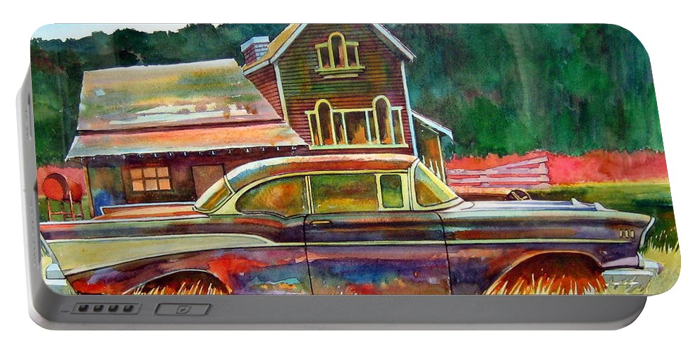 57 Chev Portable Battery Charger featuring the painting American Heritage by Ron Morrison