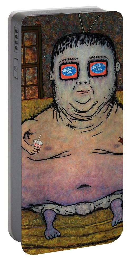 American Idol Portable Battery Charger featuring the painting American Idle by James W Johnson