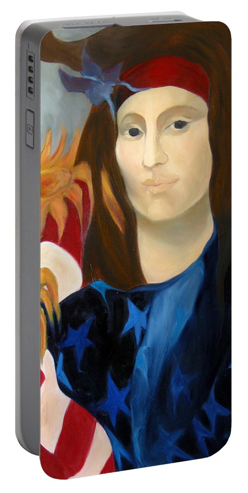 Figurative Portable Battery Charger featuring the painting American Jokonda by Antoaneta Melnikova- Hillman