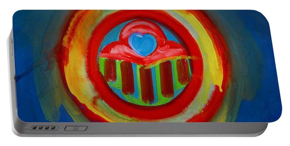 Button Portable Battery Charger featuring the painting American Love Button by Charles Stuart