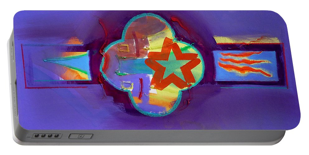 Star Portable Battery Charger featuring the painting American Neon by Charles Stuart