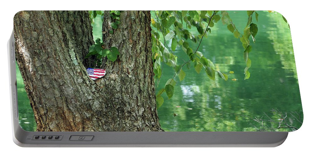 American Flag Portable Battery Charger featuring the photograph American Pride By The Pond by Jennifer Gauthier