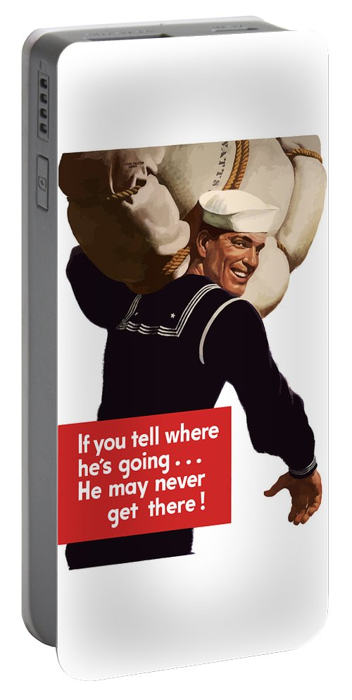 Navy Portable Battery Charger featuring the painting American Sailor -- Ww2 Propaganda by War Is Hell Store