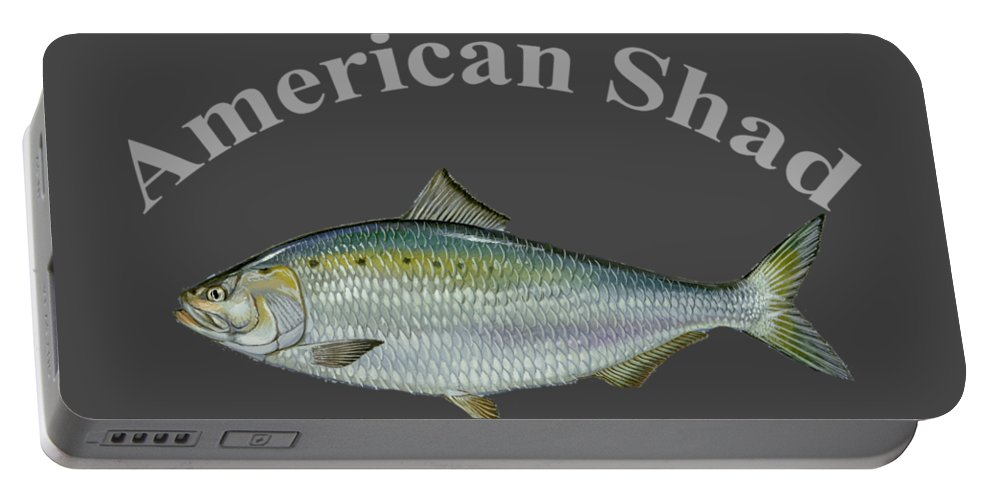 American Shad Portable Battery Charger featuring the digital art American Shad by T Shirts R Us -