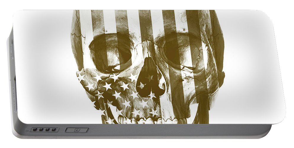Skull Portable Battery Charger featuring the mixed media American Skull Beige by Del Art