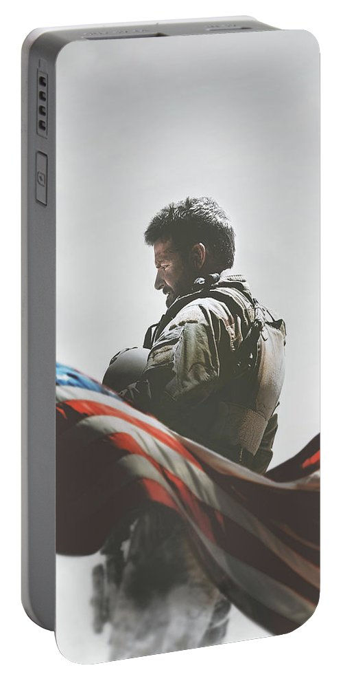 American Sniper 2014 Portable Battery Charger featuring the digital art American Sniper 2014 by Geek N Rock