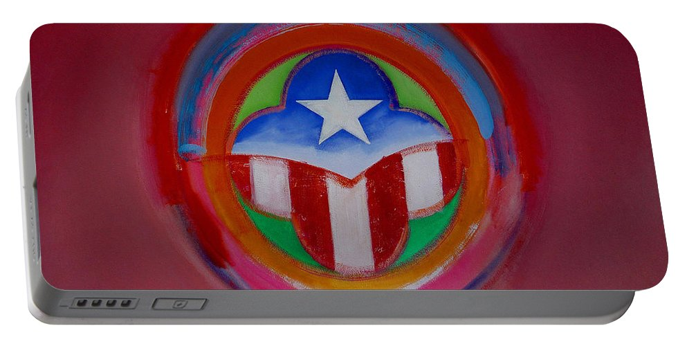 Button Portable Battery Charger featuring the painting American Star Button by Charles Stuart