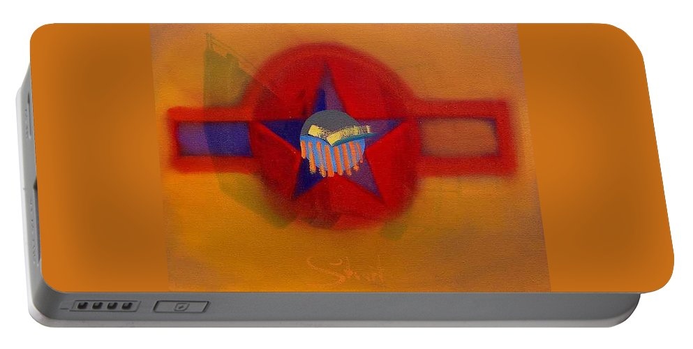 Usaaf Insignia And Idealised Landscape In Union Portable Battery Charger featuring the painting American Sub Decal by Charles Stuart