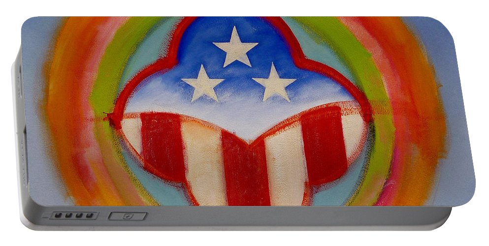 Logo Portable Battery Charger featuring the painting American three star landscape by Charles Stuart