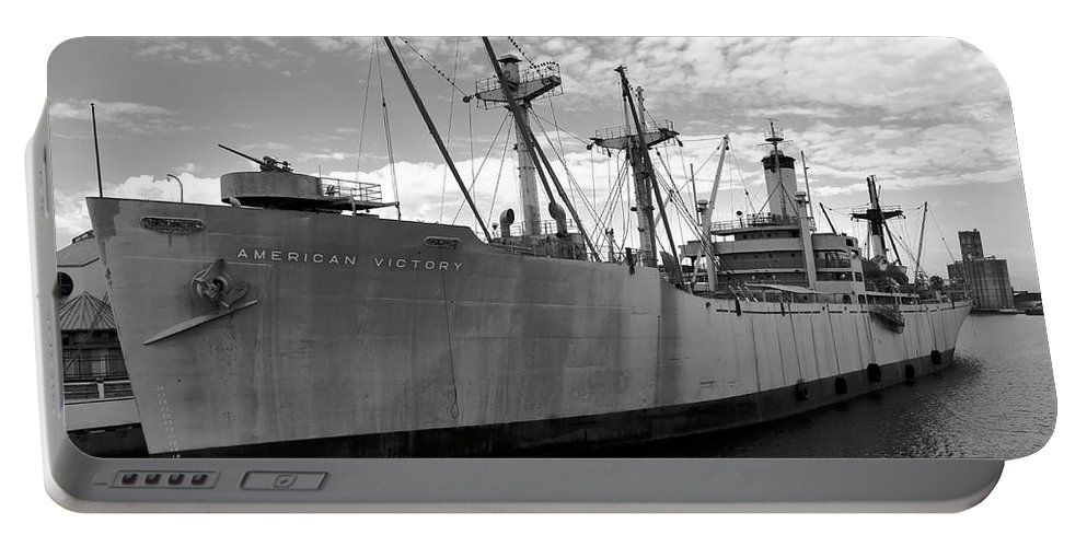 Fine Art Photography Portable Battery Charger featuring the photograph American Victory Ship Tampa Bay by David Lee Thompson