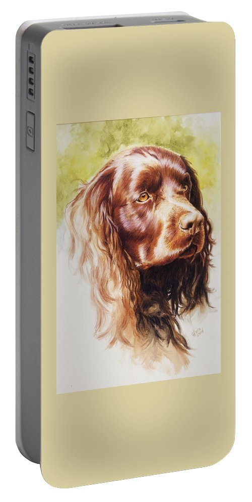 Sporting Portable Battery Charger featuring the painting American Water Spaniel by Barbara Keith
