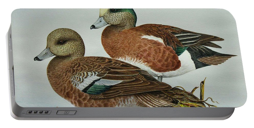 Ducks Portable Battery Charger featuring the painting American Widgeons by Elaine Booth-Kallweit