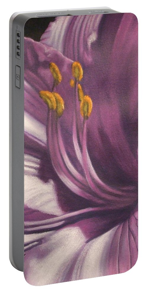 Floral Portable Battery Charger featuring the mixed media Amethyst by Barbara Keith