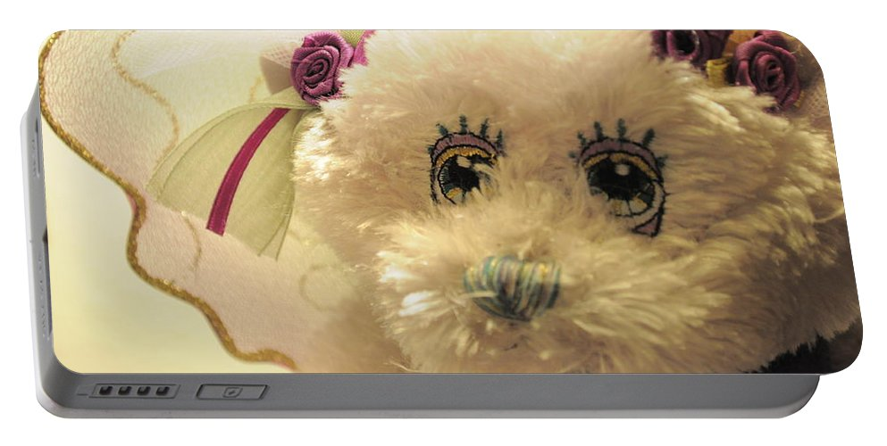 Amethyst Portable Battery Charger featuring the photograph Amethyst Fairy Bear by Bridgette Gomes