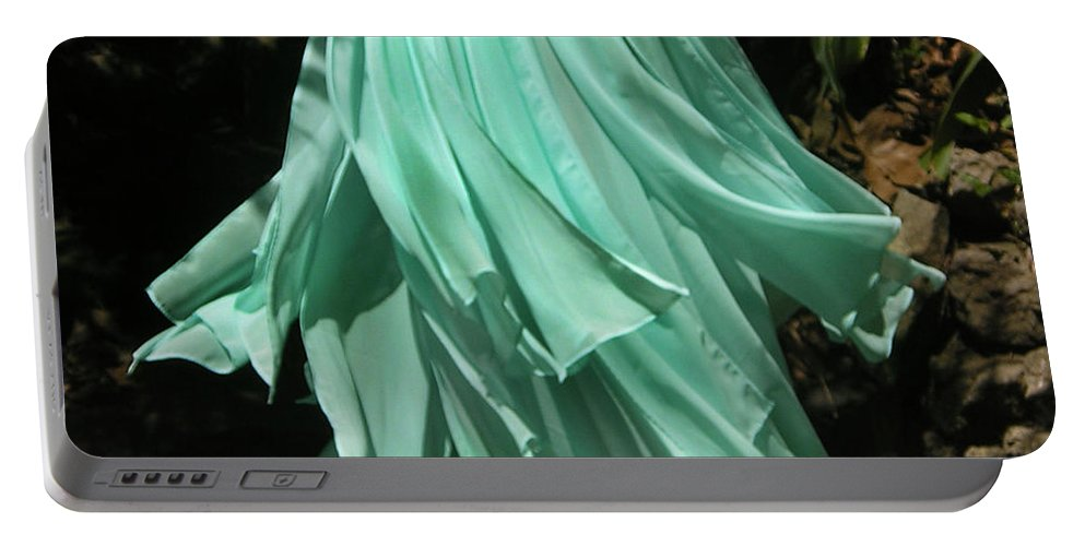 Ameynra Portable Battery Charger featuring the photograph Ameynra Design Aqua-green Chiffon Skirt by Sofia Metal Queen