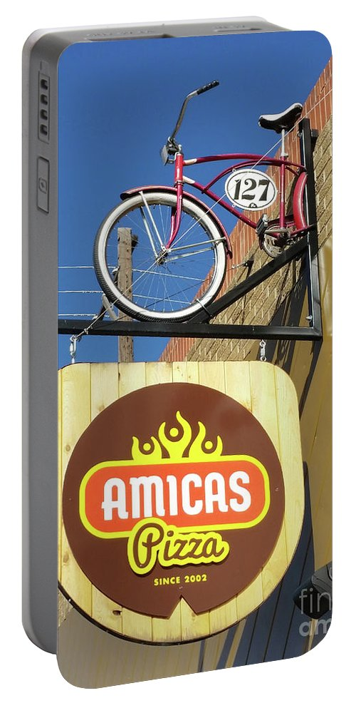 Sign Portable Battery Charger featuring the photograph Amicas Pizza by Tony Baca