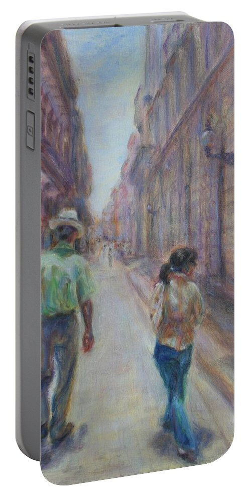 Quin Sweetman Portable Battery Charger featuring the painting Amigos En Havana by Quin Sweetman