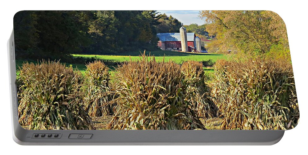 Amish Fall Harvest Portable Battery Charger featuring the photograph Amish Farm Country Fall by Stephanie Forrer-Harbridge