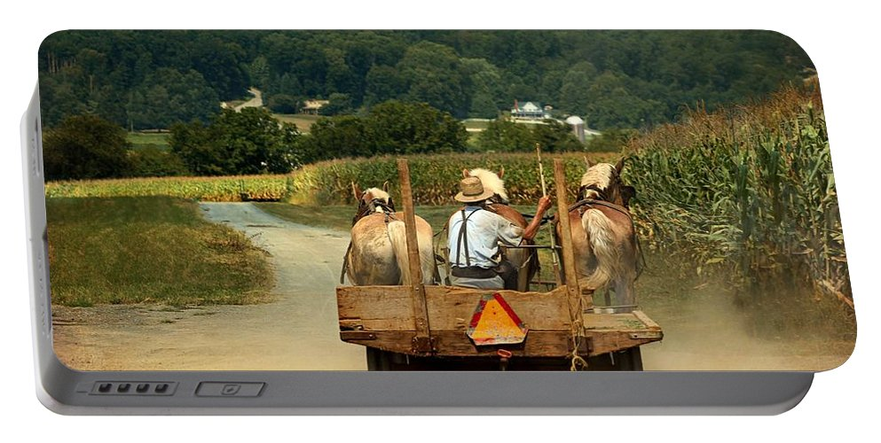 Amish Farmer Portable Battery Charger featuring the photograph Amish Farmer Three Horses by Beth Ferris Sale