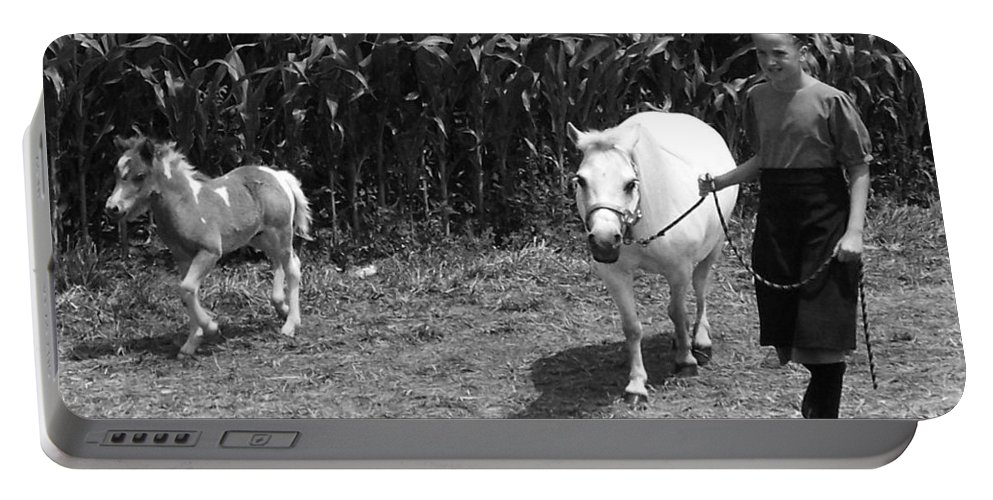 Amish Girl With Her Colt Portable Battery Charger featuring the photograph Amish Girl With Her Colt by Eric Schiabor