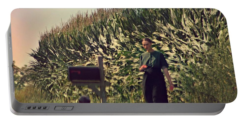 Amish Portable Battery Charger featuring the photograph Amish Girls Watermelon Break by Beth Ferris Sale