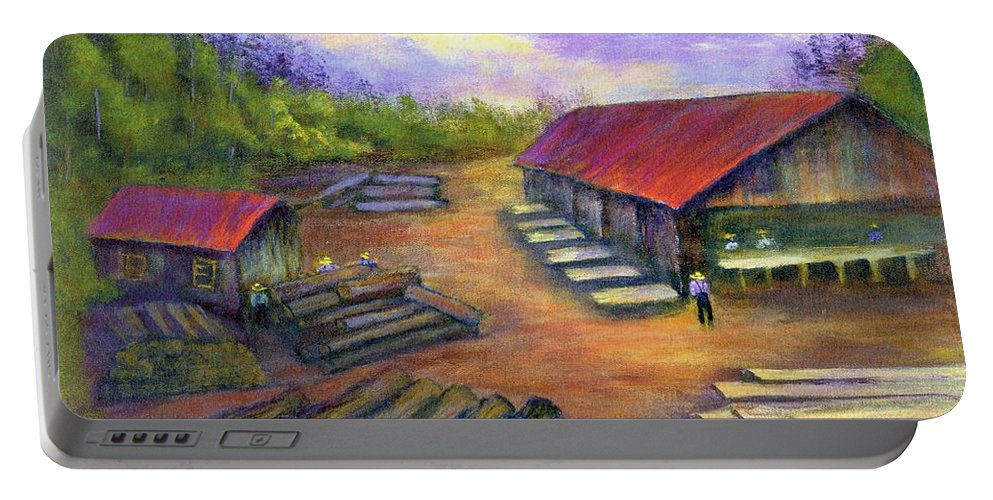 Amish Portable Battery Charger featuring the painting Amish Lumbermill by Gail Kirtz