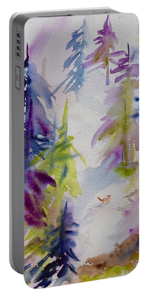 Among The Trees Portable Battery Charger featuring the painting Among The Trees by Beverley Harper Tinsley