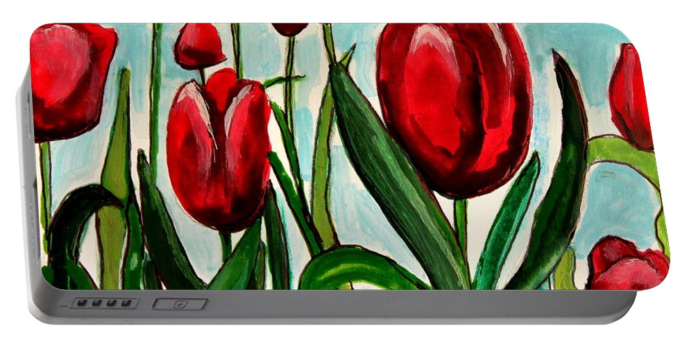 Tulips Portable Battery Charger featuring the painting Among The Tulips by Elizabeth Robinette Tyndall