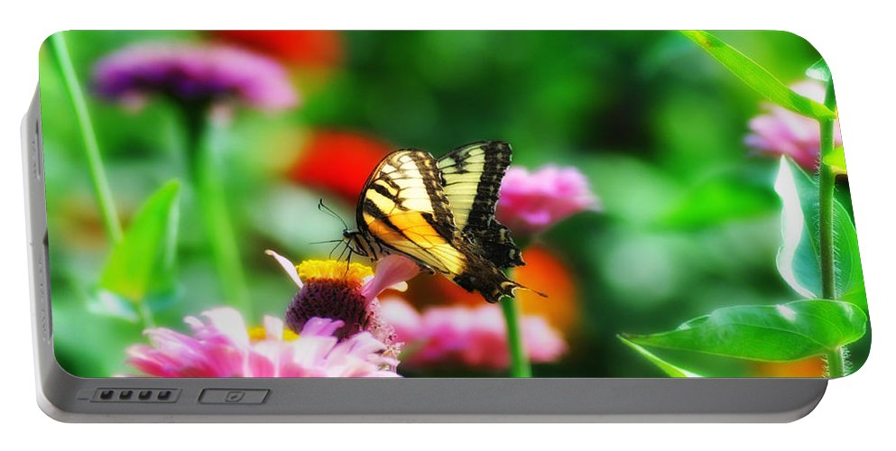 Butterfly Portable Battery Charger featuring the photograph Amongst The Flowers by Bill Cannon