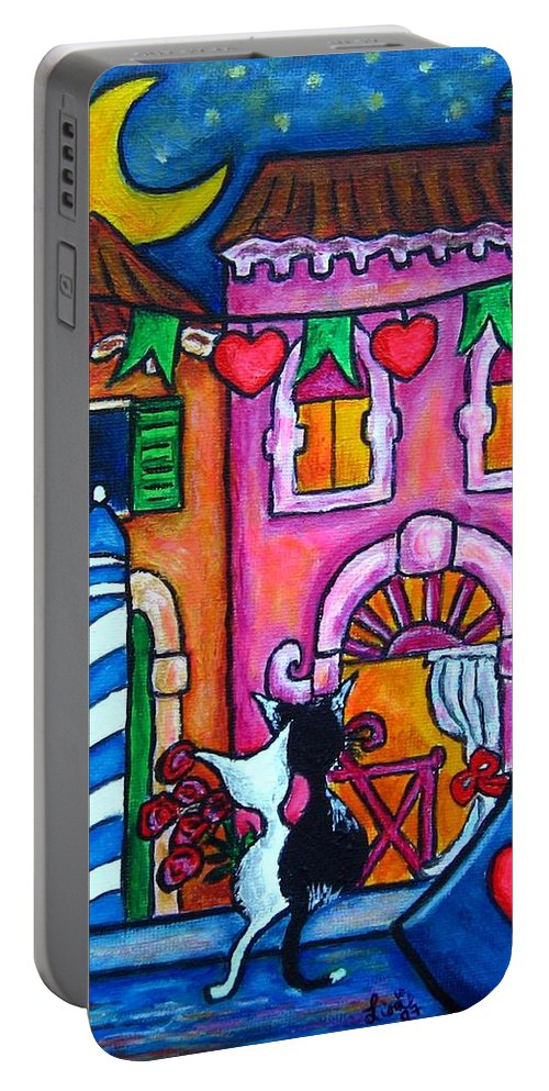Cats Portable Battery Charger featuring the painting Amore In Venice by Lisa Lorenz