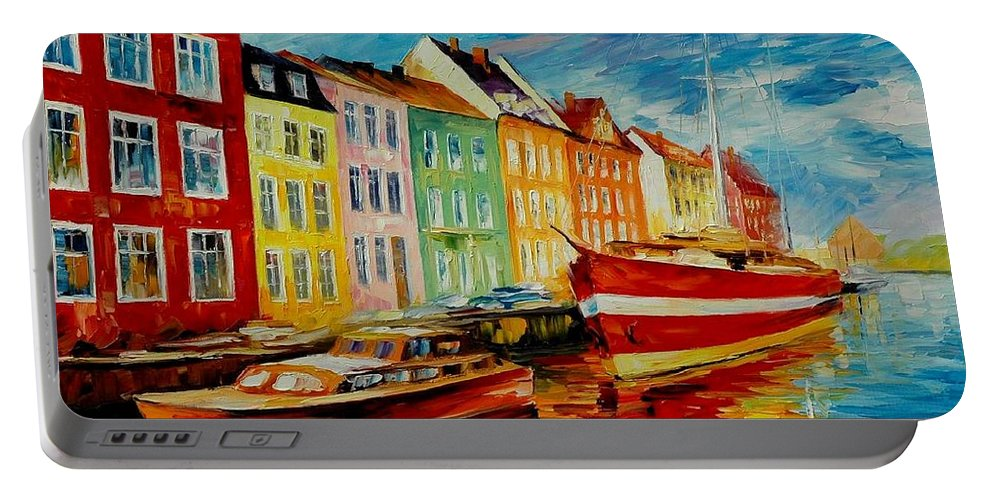 Afremov Portable Battery Charger featuring the painting Amsterdam - City Dock by Leonid Afremov