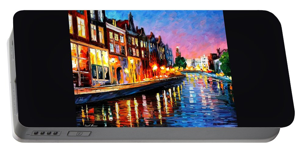 Afremov Portable Battery Charger featuring the painting Amsterdam - Sunday Night by Leonid Afremov