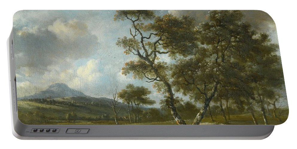 Jan Wijnants Haarlem Circa 1635 - 1684 Amsterdam A Landscape With Cattle Being Driven Along A Country Road Portable Battery Charger featuring the painting Amsterdam A Landscape With Cattle by MotionAge Designs