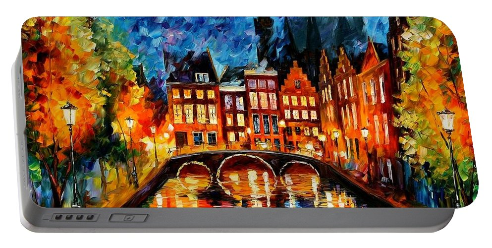 Afremov Portable Battery Charger featuring the painting Amsterdam Canal by Leonid Afremov