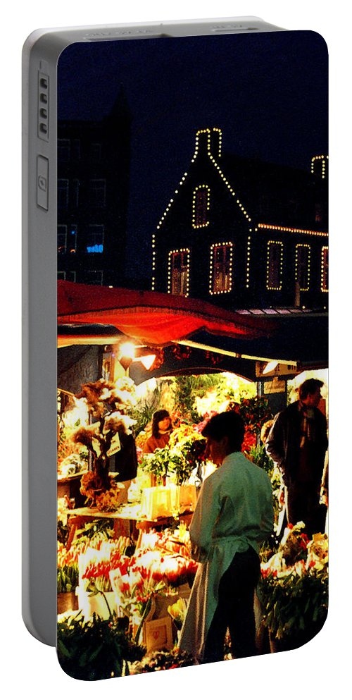 Flowers Portable Battery Charger featuring the photograph Amsterdam Flower Market by Nancy Mueller