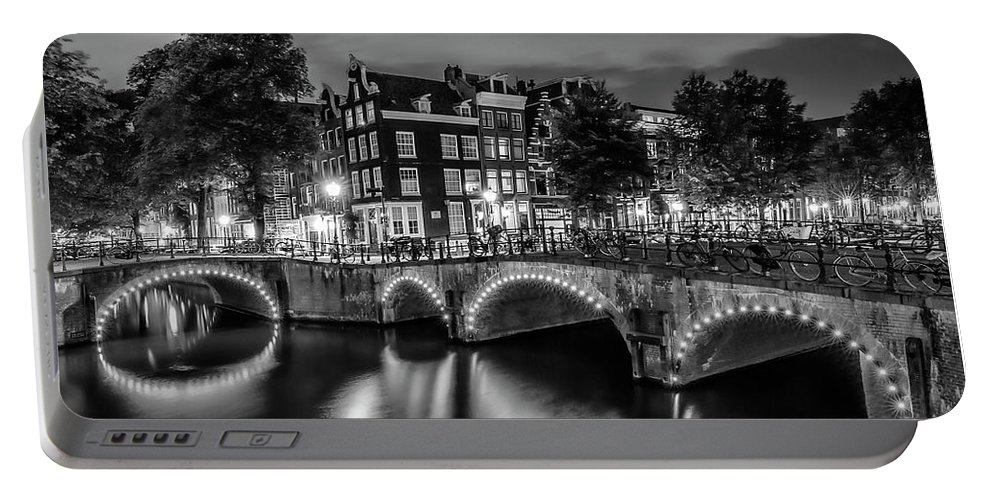 Amsterdam Portable Battery Charger featuring the photograph Amsterdam Idyllic Nightscape From Keizersgracht And Leliegracht - Monochrome by Melanie Viola