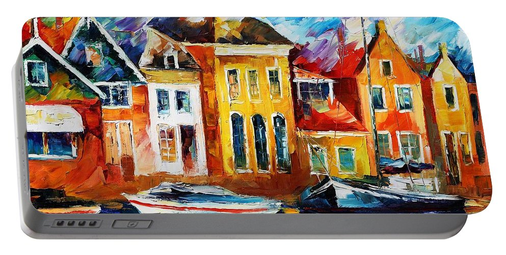Afremov Portable Battery Charger featuring the painting Amsterdam by Leonid Afremov