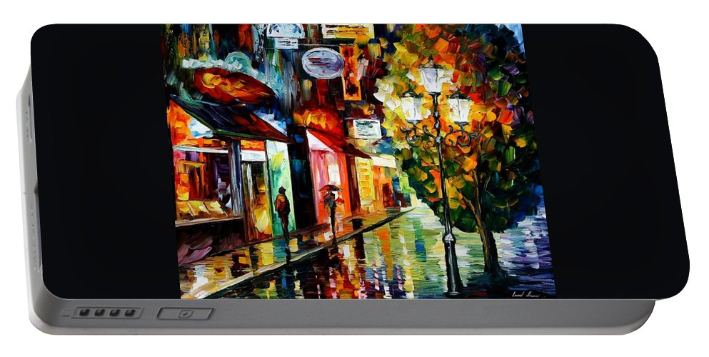 Afremov Portable Battery Charger featuring the painting Amsterdam Night Rain by Leonid Afremov