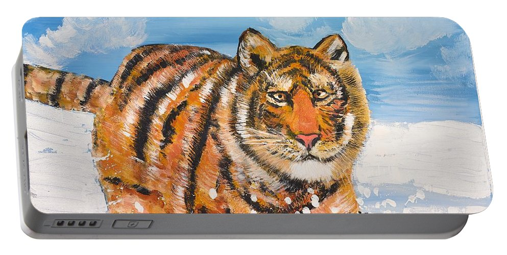 Cat Portable Battery Charger featuring the painting Amur Tiger by Valerie Ornstein