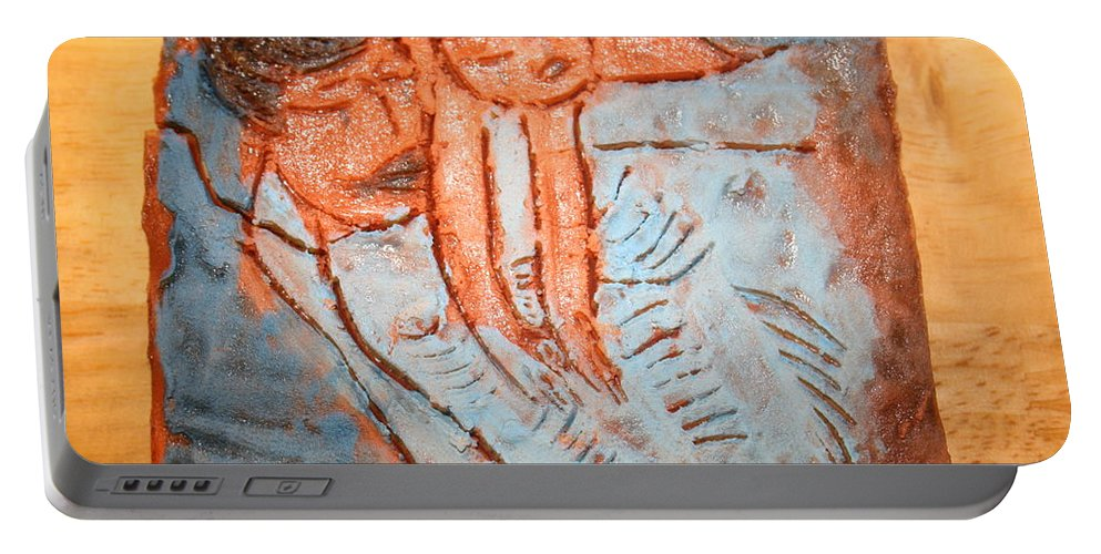 Jesus Portable Battery Charger featuring the ceramic art Amuweese - Tile by Gloria Ssali