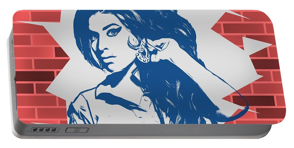 Amy Winehouse Graffiti Tribute Portable Battery Charger featuring the digital art Amy Winehouse Graffiti Tribute by Dan Sproul