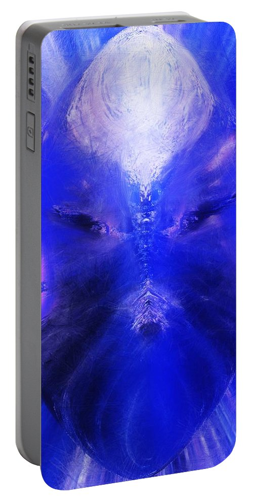 Digital Painting Portable Battery Charger featuring the digital art An Alien Visage by David Lane