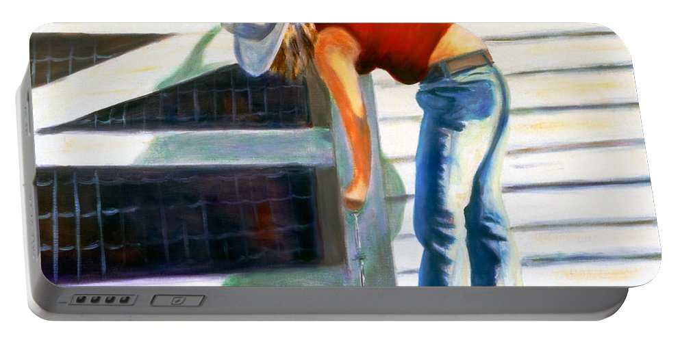 Red Portable Battery Charger featuring the painting An American Girl by Shannon Grissom