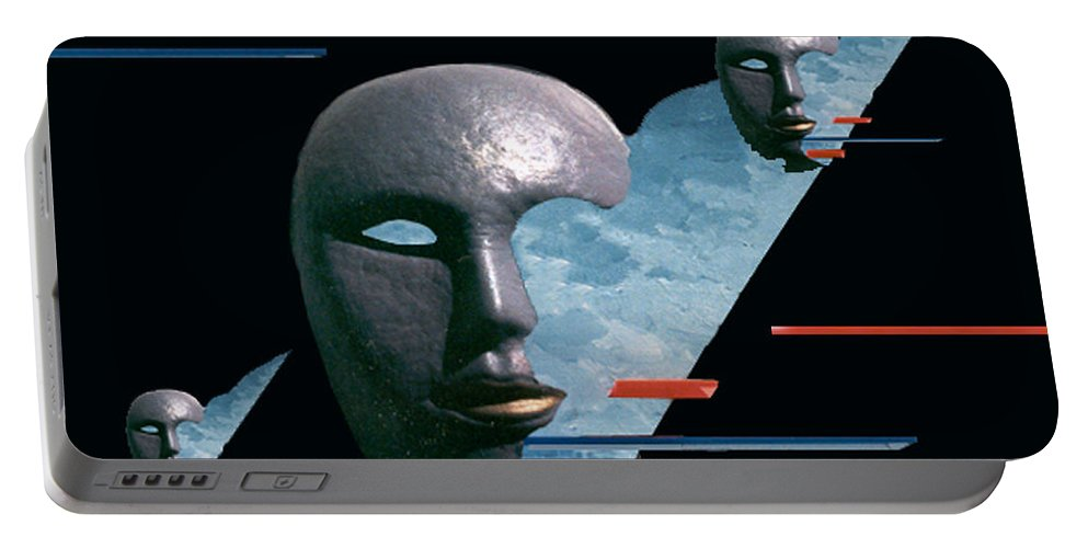 Surreal Portable Battery Charger featuring the digital art An Androids Dream by Steve Karol