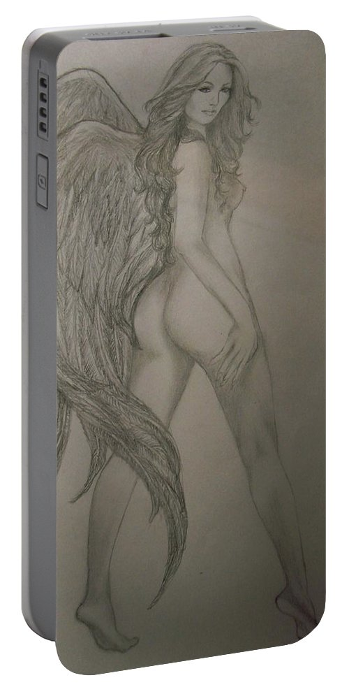 Angel Portable Battery Charger featuring the drawing An Angel by Glory Fraulein Wolfe