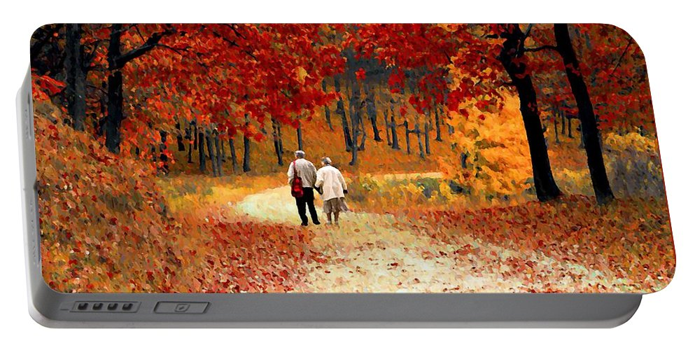 Autumn Portable Battery Charger featuring the photograph An Autumn Walk by David Dehner